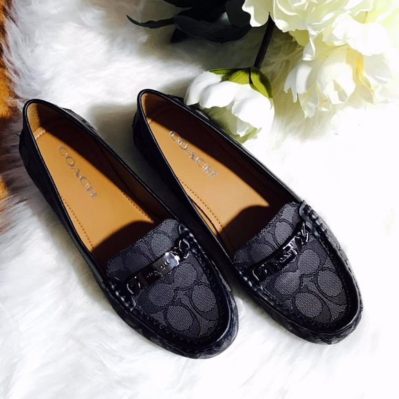 7a94cfbc923 Coach Smoke Black Olive Leather Loafers Flats